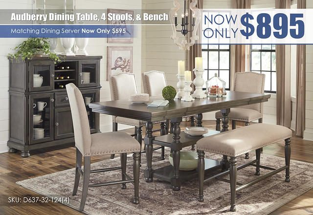 Audberry Dining Table 4 Stools and Bench_D637-32-124(4)-09-76