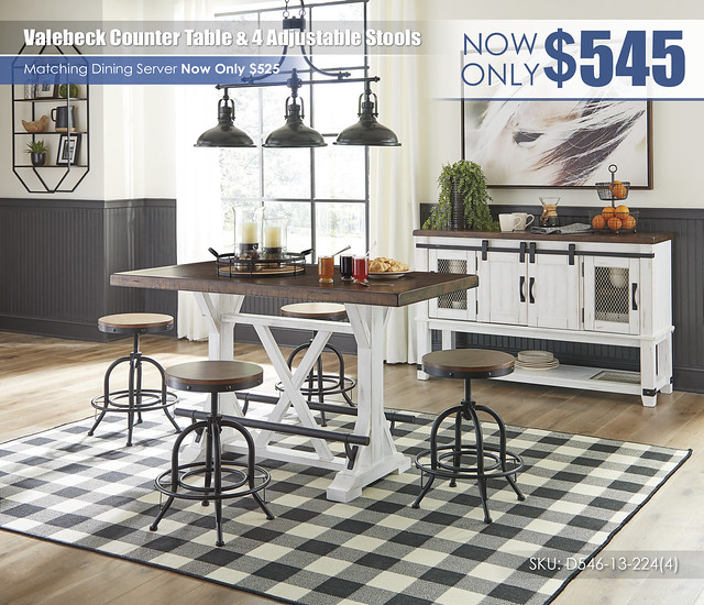 Valebeck Counter Table and 4 Adjustable Stools_D546-13-224(4)-60