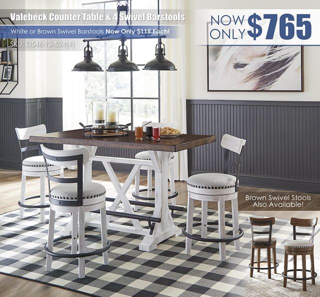 Valebeck Counter Table & 4 Swivel Barstools_D546-13-524(4)