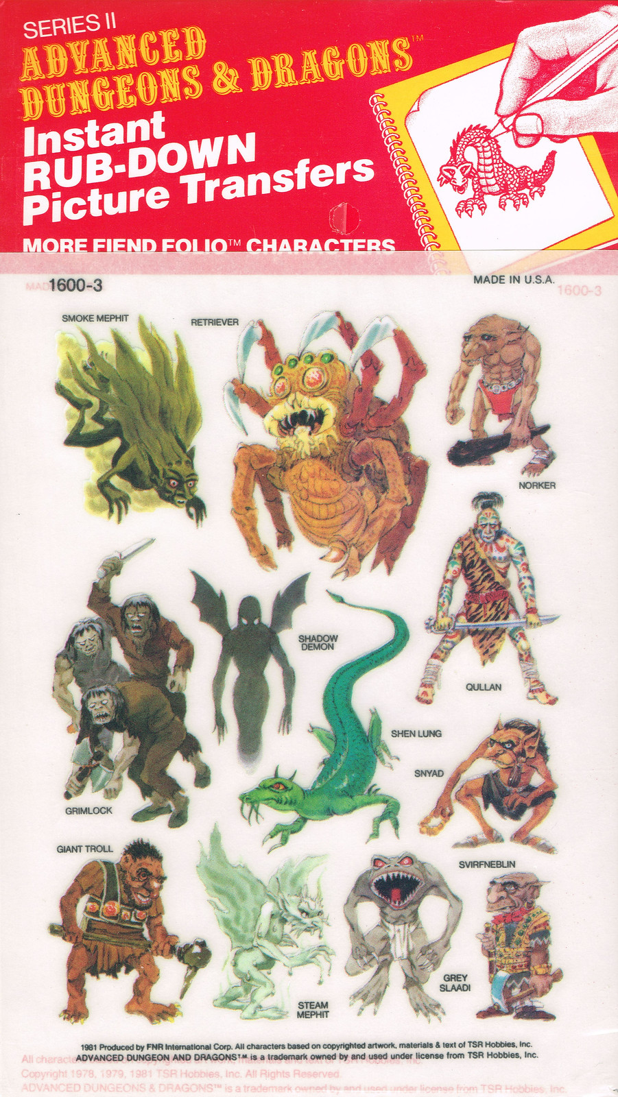 Advanced Dungeons and Dragons Picture Transfers (More Fiend Folio Characters)  Series 2 - 01, 1981