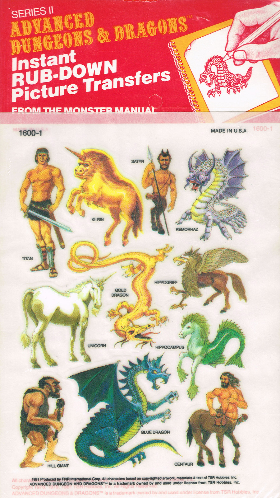Advanced Dungeons and Dragons Picture Transfers (From The Monster Manual)  Series 2 - 04, 1981