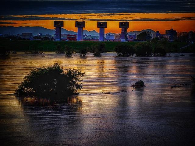 Flooded Arakawa at Sunset