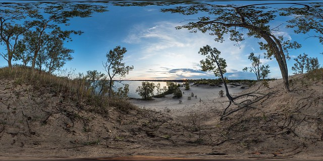 Fall Morning in the Dunes at Sandbanks Provincial Park, Prince Edward County, ON (interactive 360x180  pano)