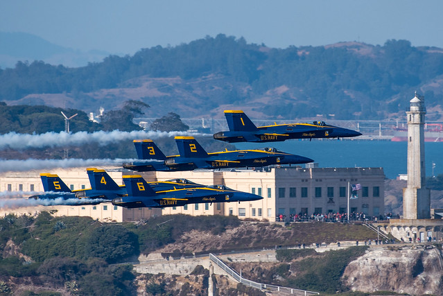 Blue Angels in front of Alcatraz