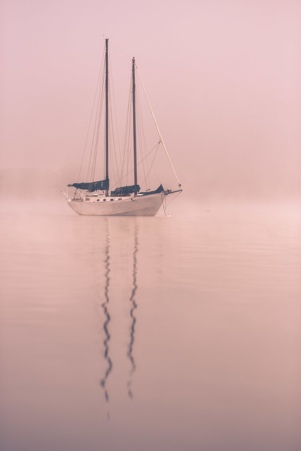 I took a picture of a boat in the fog