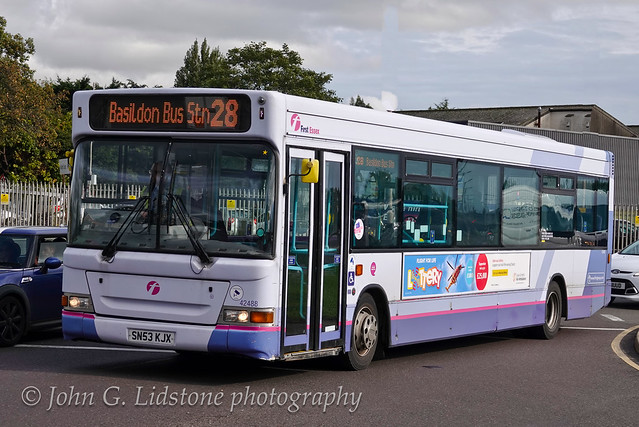 First day back in service for reinstated First Essex (Hadleigh) TransBus Dart / Pointer 2 42488, SN53 KJX