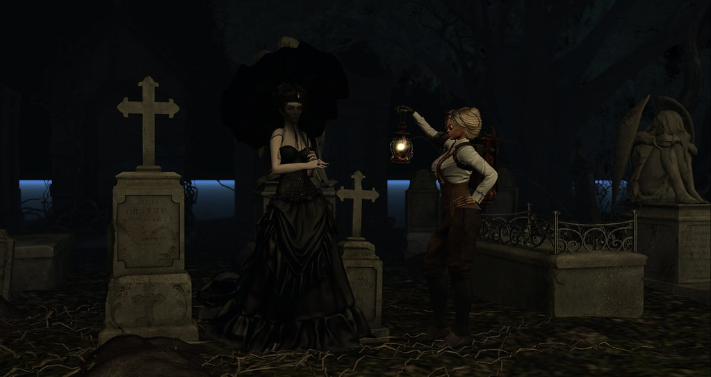 Abra Macabre in the Cemetary with an Umbrella