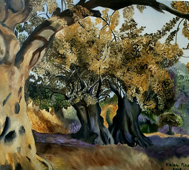 פרידה פירו ציירת ישראלית ריאליסטית ירושלמית עכשווית מודרנית עצי  זהב