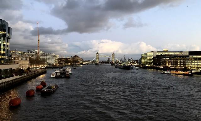 On London Bridge at dusk