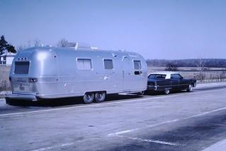 Found Photo - Cadillac & Airstream Trailer