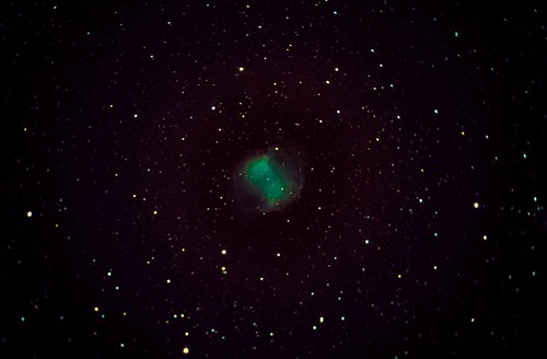 Dumbbell Nebula 16/10/2019 Canon 70D DSLR unmodified, WiFi control from IPad  CPC 800, Driven by Stellarium. 18 Subs, ISO 800, 20 Secs, Stacked and Pre Processed in Nebulosity, then Lightroom. Longer exposures and higher ISO just resulted in lots of light