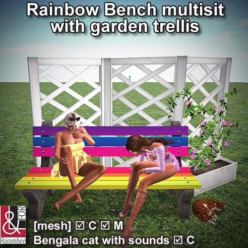 Rainbow Bench multisit with garden trellis & Bengala cat