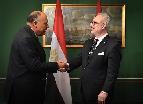 17.10.2019. Valsts prezidenta Egila Levita tikšanās ar V. E. Ēģiptes Arābu Republikas ārlietu ministru Samehu Šukriju (H. E. Mr Sameh Shoukry)
