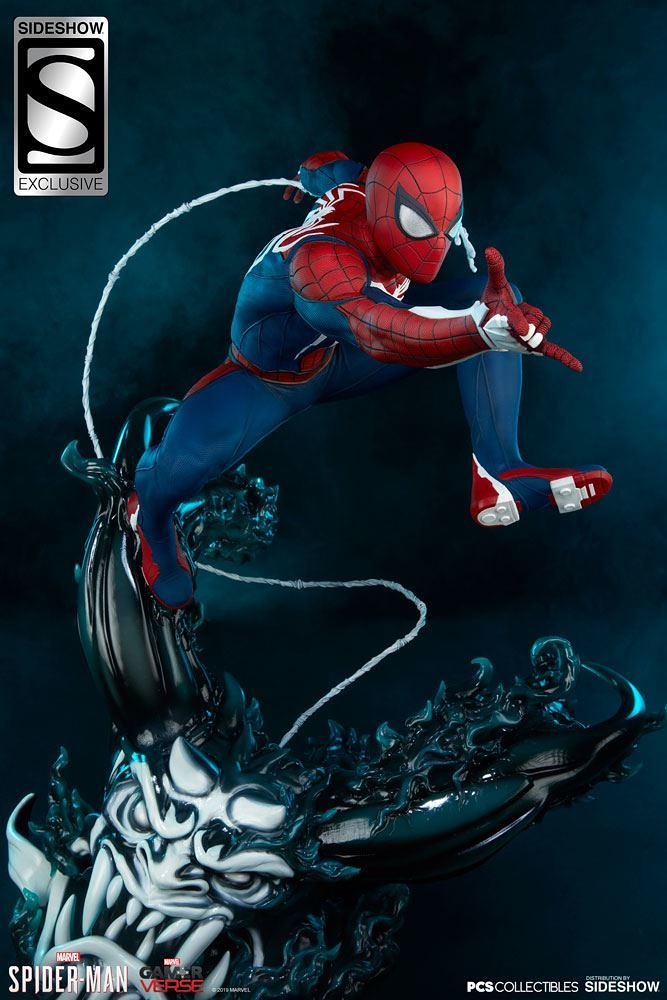 再現緊張刺激的頭目戰! Pop Culture Shock × Sideshow《漫威蜘蛛人》蜘蛛人 - 高級戰衣 Spider-Man - Advanced Suit 1/3 比例全身雕像 普通版/EX版