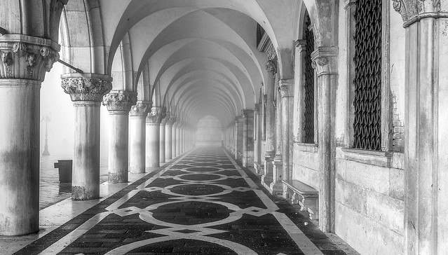 Doges Palace in the fog.