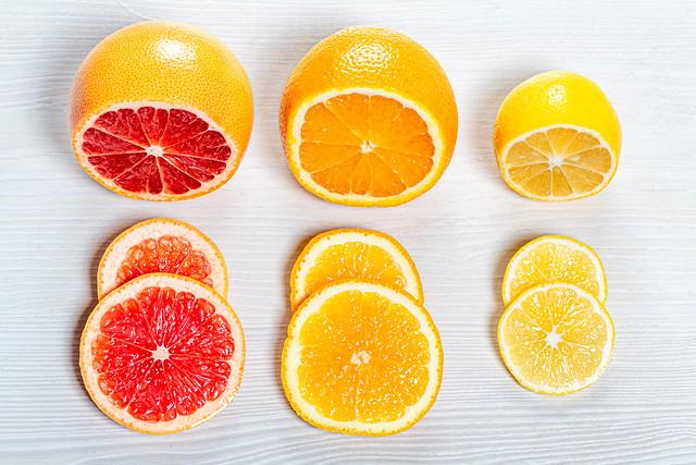 Fresh sliced orange, lemon and grapefruit