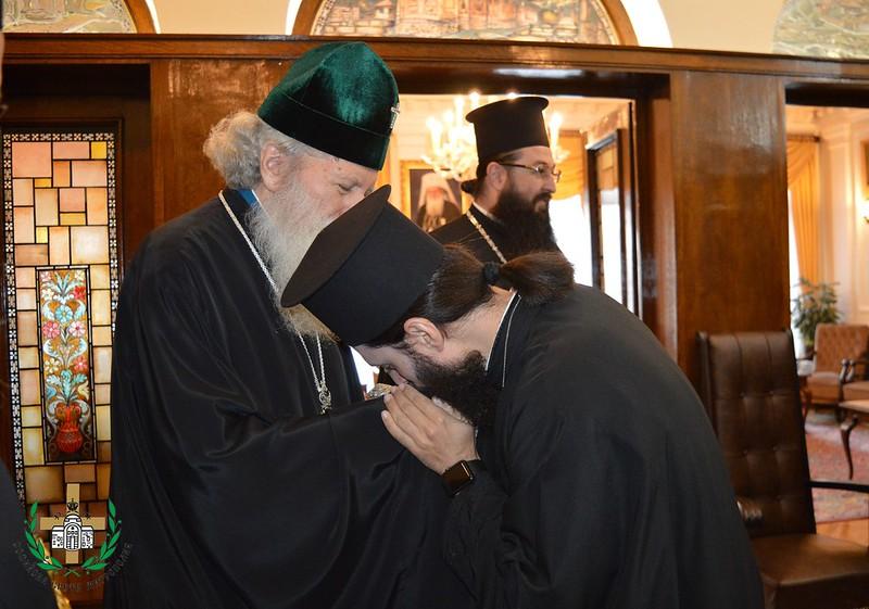 Българският патриарх Неофит се срещна с архимандрит Никодимос Каварнос 17.10.2019г.