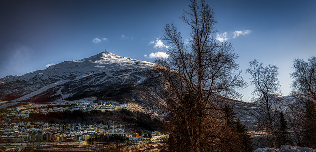 Part of a town of Narvik nestled against a mountain, Norway-24a