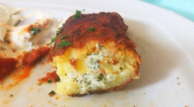 Potato creme cheese bags - Lateral cut / Kartoffel-Frischkäse- Taschen - Querschnitt