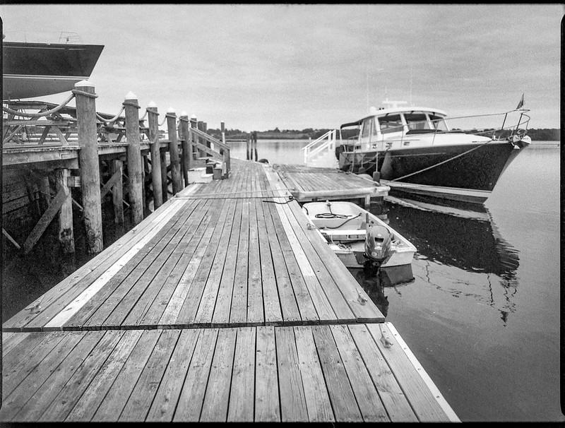 yacht, skiff, boat on stands, dock, harbor, Thomaston, Maine, Mamiya 645 Pro, mamiya sekor 45mm f-2.8, Bergger Pancro 400, HC-110 developer, 9.13.19