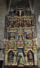 Retable baroque, monastère Santa María de Zenarruza (XIVe_XVe), Ziortza-Bolibar, comarque de Lea-Artibai, Biscaye, Pays basque, Espagne.