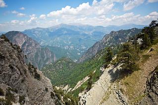View north-east to Mount Smolikas and Macedonia, above Xerolimni (lake), Timfi, Greece