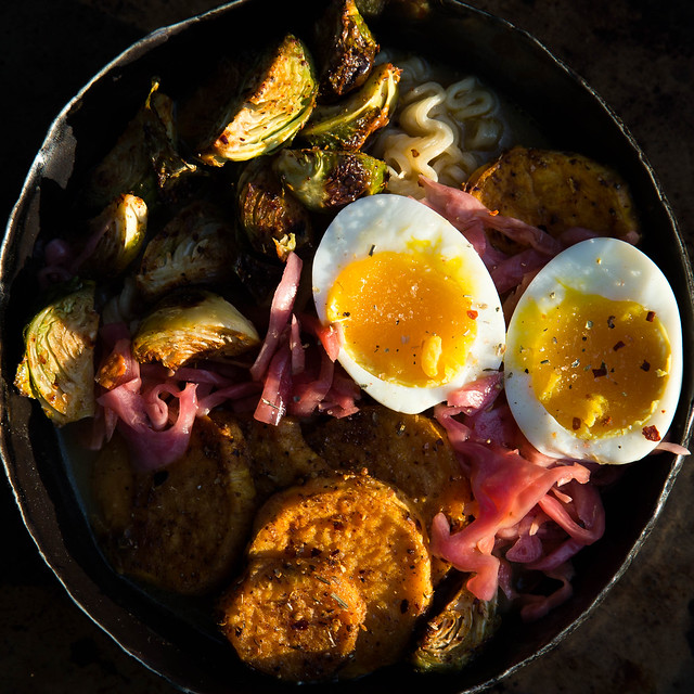 curry coconut ramen bowl w roasted veg and egg