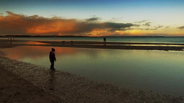 Beach scene in the evening light