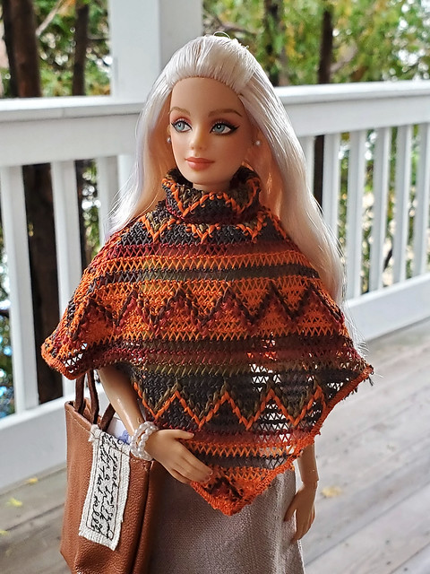 Barbie poncho, SugarBabyLove tote/purse, skirt by DreamingAboutCrafts (Etsy).