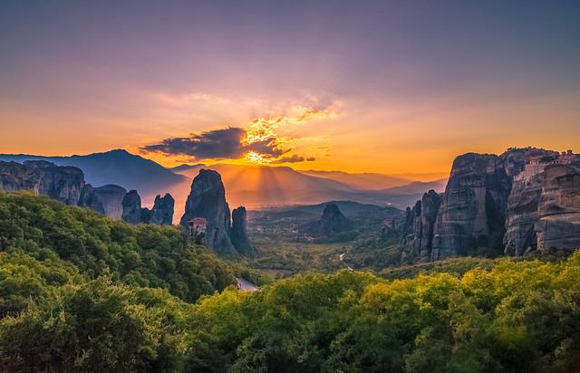 Sunset in Meteora