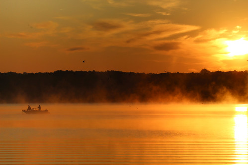 mist fog fish boat fishing sunrise mosquito lake ohio cortland state park shoreline trees birds autumn fall october
