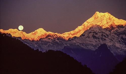 Sunrise and  full moonset, Kanchenjunga, India