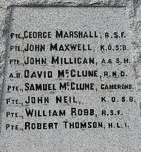 Names, Upper Sorbie War Memorial