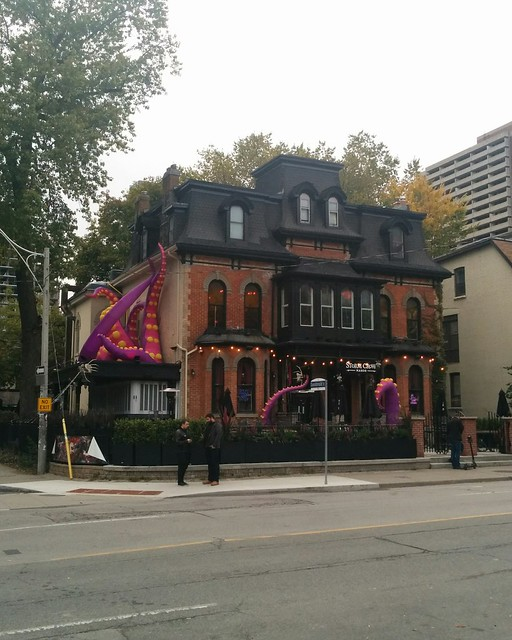 Storm Crow Manor, after the tentacle eruption #toronto #churchstreet #churchandwellesley #stormcrowmanor #nightclubbing #purple #tentacle #cthulhu