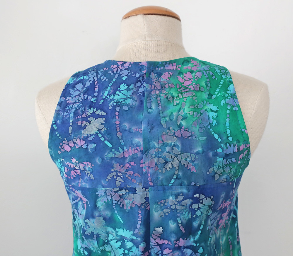 Batik dress back neckline