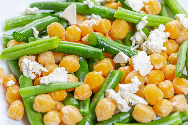 Close-up salad with chickpeas, asparagus and feta cheese