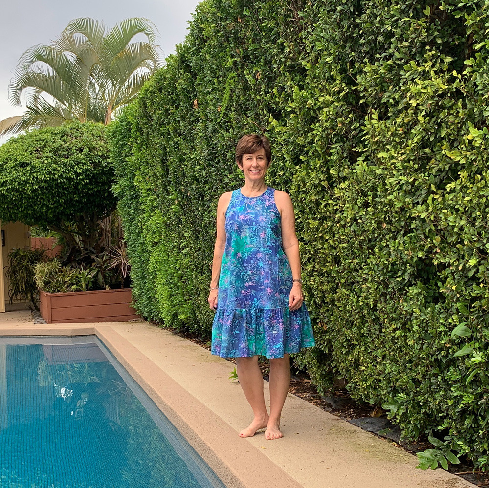 Batik dress by pool