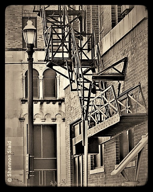 Houston TX Downtown Fire Escape -Sepia