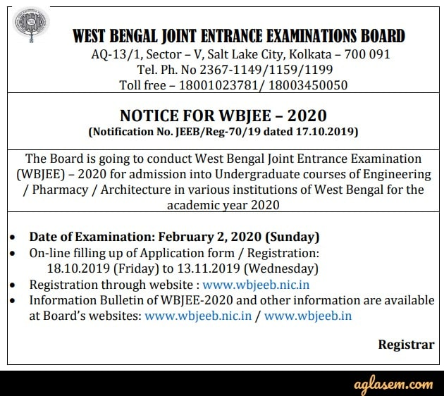 WBJEE 2020 Notice