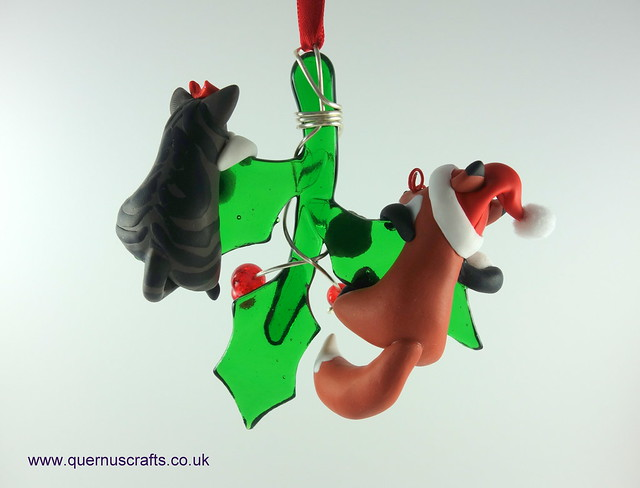 Little Santa Fox and Wee Fatty Cat on Glass Holly