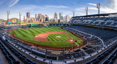 fencefriday hff nikkor18300mm pncpark pennsylvania pittsburgh pittsburghpirates ballparks baseball cities cityscapes fans groundskeepers pano panorama seats skylines sports stadium
