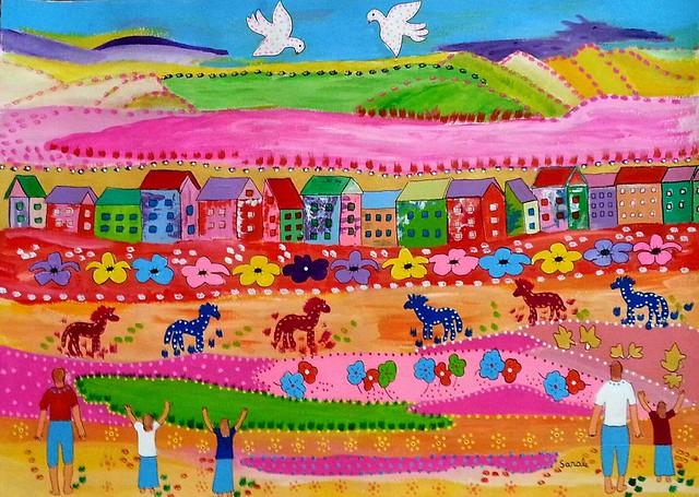 שרה גליקסברג sarale sara gliksberg ציור פרימיטיביזם פרימטיביזם פרימיטיויזם פרימיטיבי ציירת ישראלית עכשווית מדורנית Shara sharale שרלה האמנית הישראלית מודרנית מודרניות