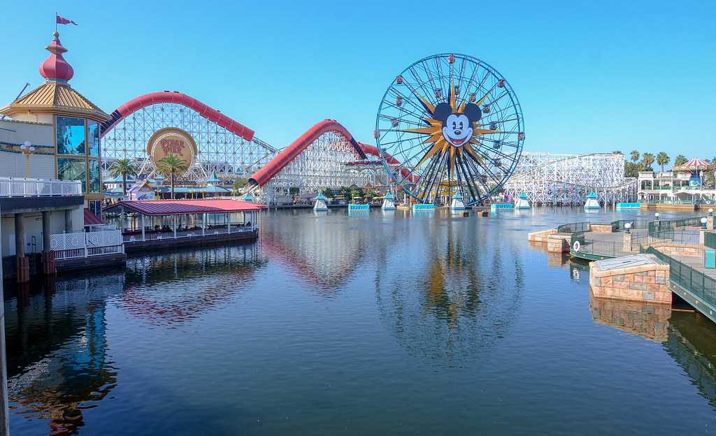 Pixar Pier across water DCA