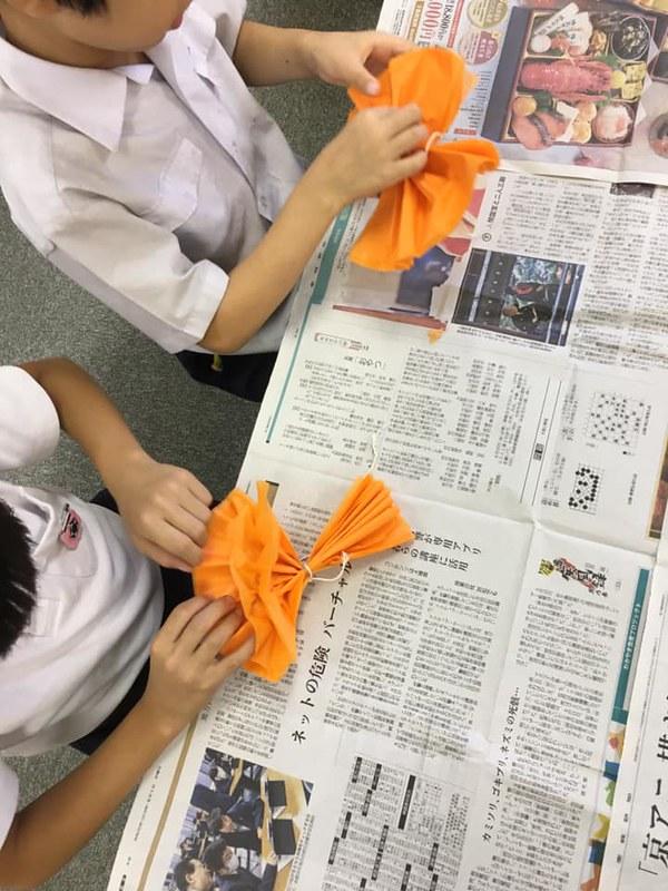 お花紙で かぼちゃ01