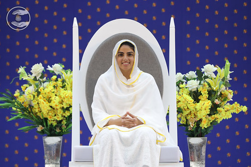 Her Holiness gracing the sacred seat on the dais