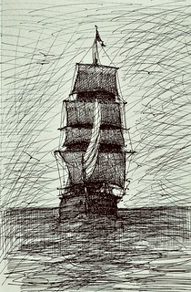 Freestyle pen and ink only, Brig drawn by jmsw
