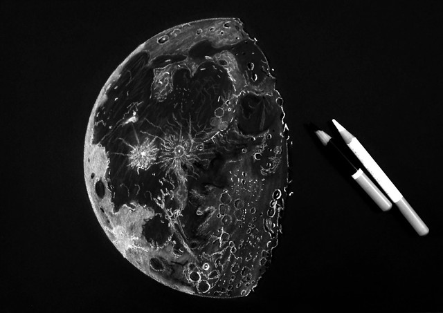 80% Waning Gibbous Moon Sketch