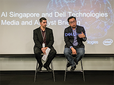 Romain Bottier, HPC & AI senior solution architect, South Asia, Dell Technologies (left) and Laurence Liew, director, AI Industry Innovation, AI Singapore at the press conference.