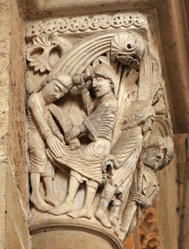 21 Капитель собора в Везле. Моисей, убивающий египтянина