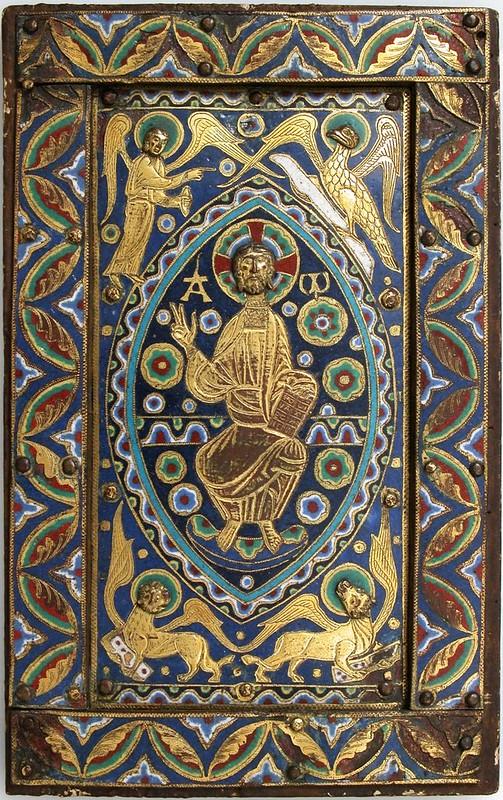 61а Спас в силах с символами Евангелистов. Оклад. Франция. Лимож XII в